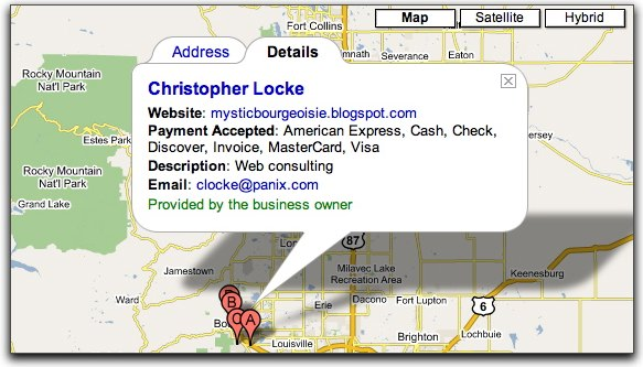 Chris Locke business card - a google map